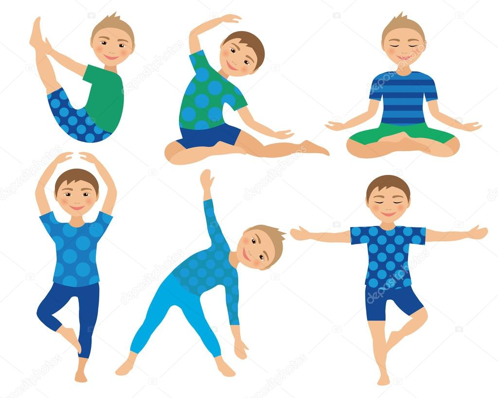 Kids Yoga Poses Vector Illustration Child Doing Exercises Posture For Kid Healthy Children Lifestyle Babies Gymnastics Sports Boys On White Background Oriental Meditation Relaxation Stock Vector C Am2vectors 117491810
