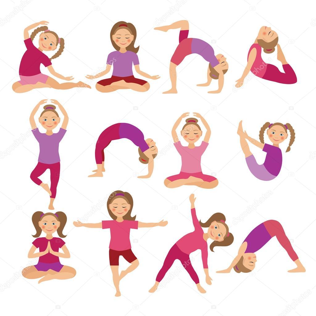 ᐈ Simple Yoga Stock Drawings Royalty Free Kids Yoga Drawing Vectors Download On Depositphotos