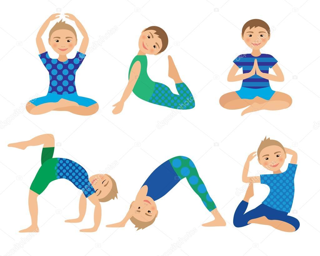 ᐈ Kids yoga cartoon stock vectors, Royalty Free kids yoga