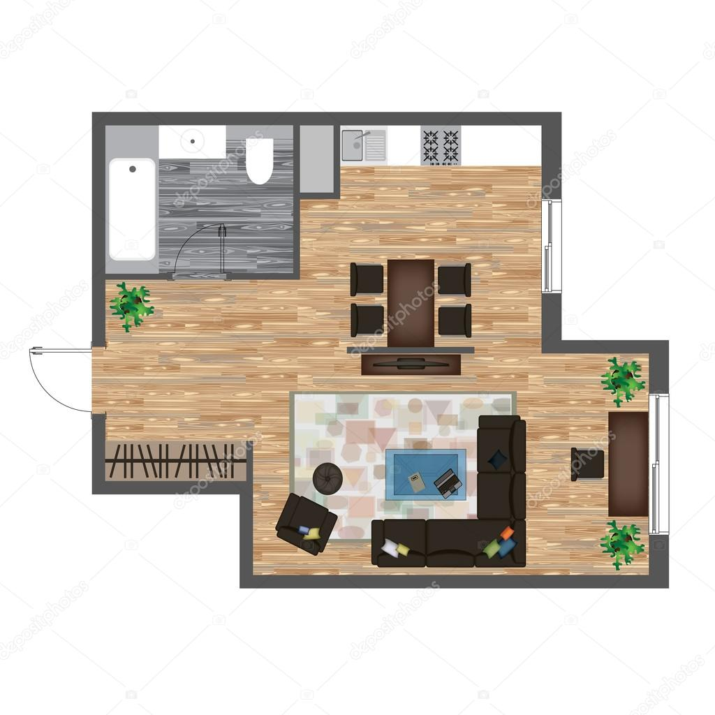 Architectural Color Floor Plan Studio Apartment Vector Illustration Top View Furniture Set Living