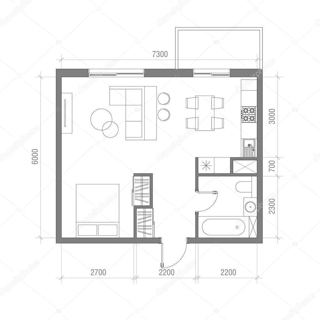 Architecturale plattegrond met dimensies. Studio appartement ...