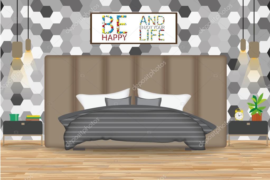 Interieur Slaapkamer Behang : Loft stijl interieur vector illustration bed voor muur met behang
