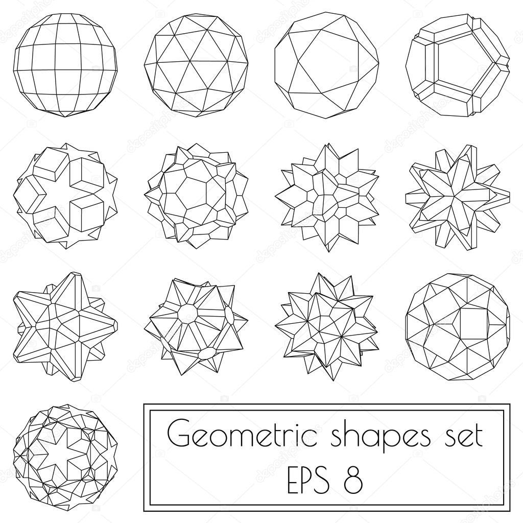 3d geometric shapes — Stock Vector © VMK_architect #117100868 for 3d Geometric Shapes Drawings  177nar
