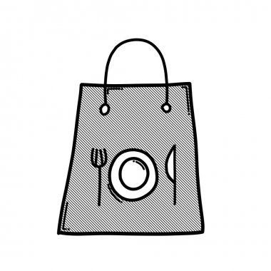 Food bag doodle vector icon. Drawing sketch illustration hand drawn line. icon