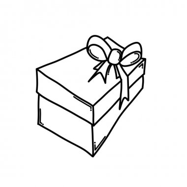 Gift box Doodle vector icon. Drawing sketch illustration hand drawn cartoon line. icon