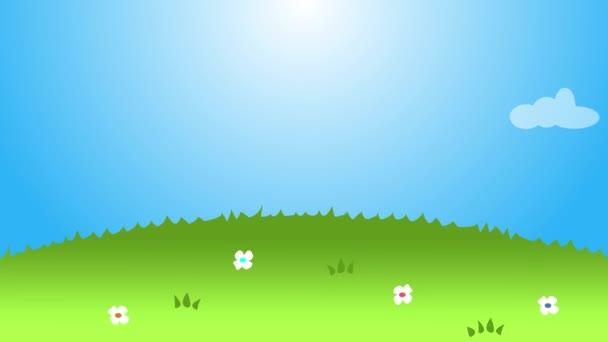 Rainbow smyčky animace. Mraky, trávu, květiny. 4k