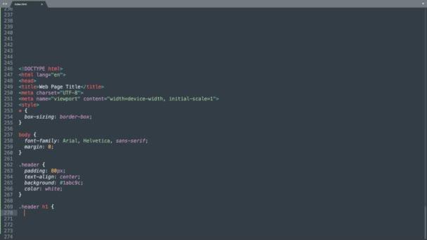 Html Programming Language Source Code Typing Effect. Obrazovka editoru barevných příkazů programátora Html. Vzdělávání v oblasti síťových technologií. Tmavě modré pozadí. Modrá Lilac žlutá Zelená Oranžový Barevný kód zvýraznění.