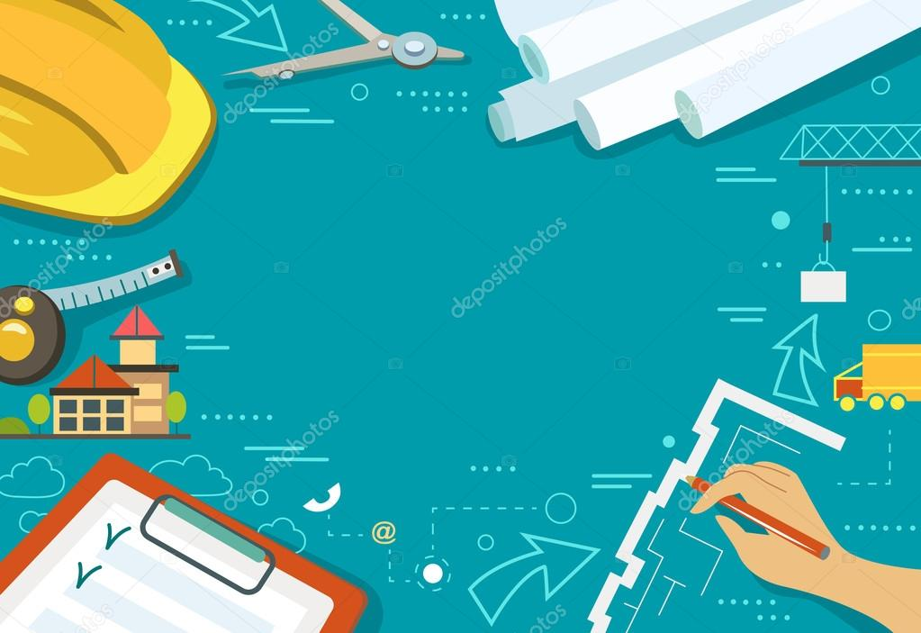 Vector illustration of working table architect