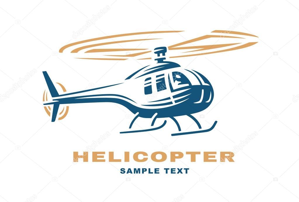 helicopter logo design illustration stock vector sodesignby