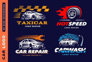 Collection of logos car, taxi service,  wash, repair