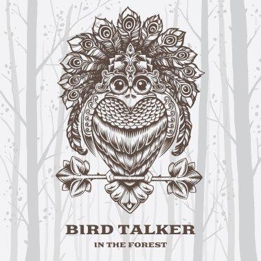 Vector Illustration Bird Talker on White background.