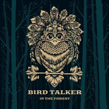 Vector Illustration Bird Talker. Decorative graphics.