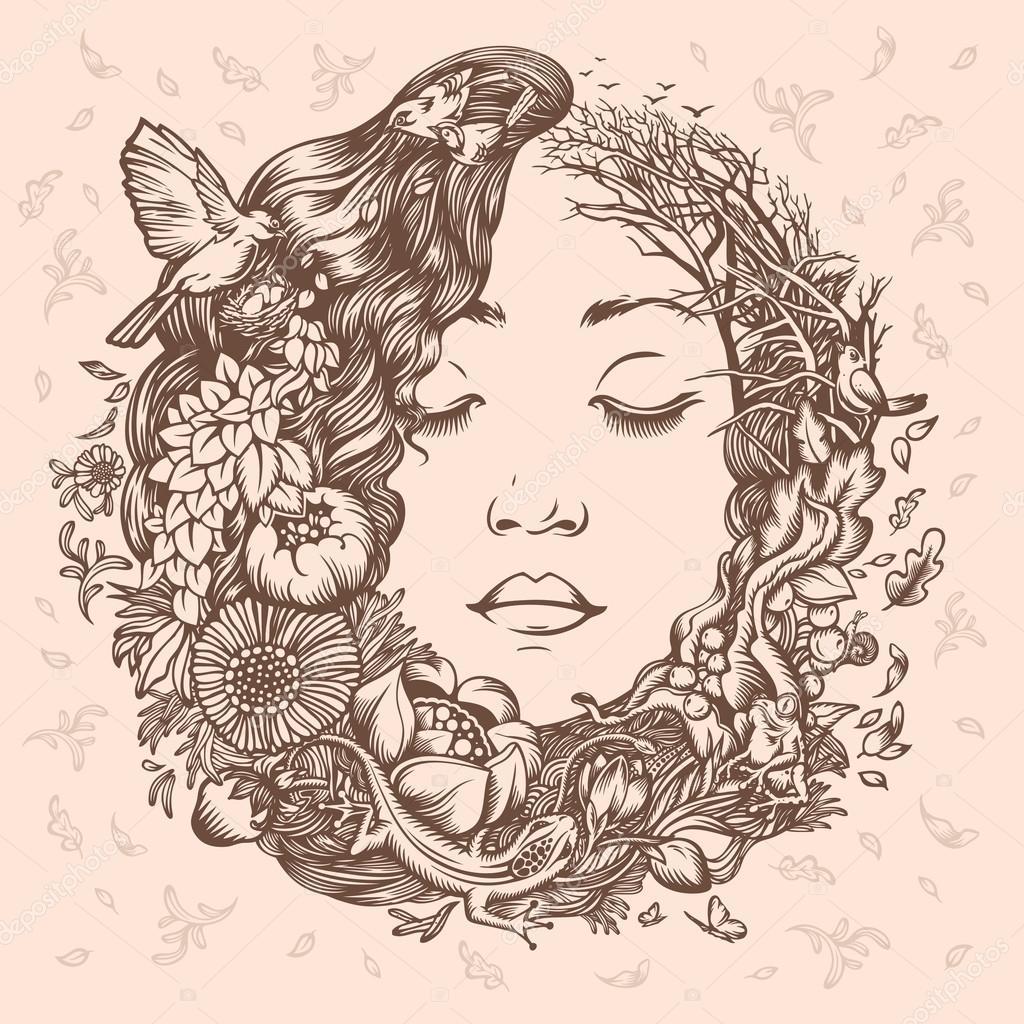 Illustration Girl as Nature. Beginning of life.