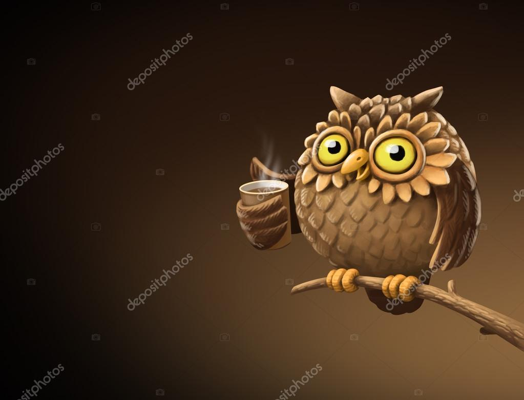 Pictures: coffee humor | Night owl with coffee  Illustration