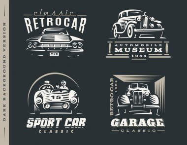 Classic car illustrations set on dark background.