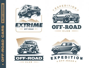 Set of four off-road suv car monochrome labels