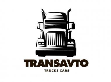 Logo illustration truck on white background