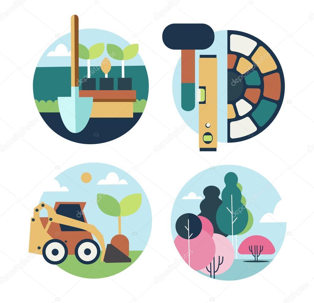 Icons set landscape design