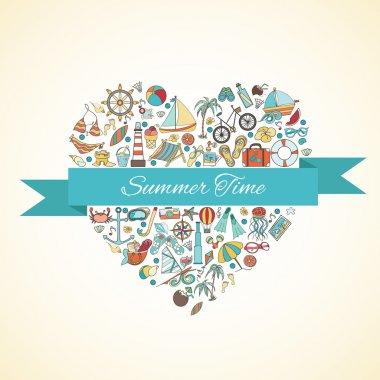 Summer doodles in form of heart