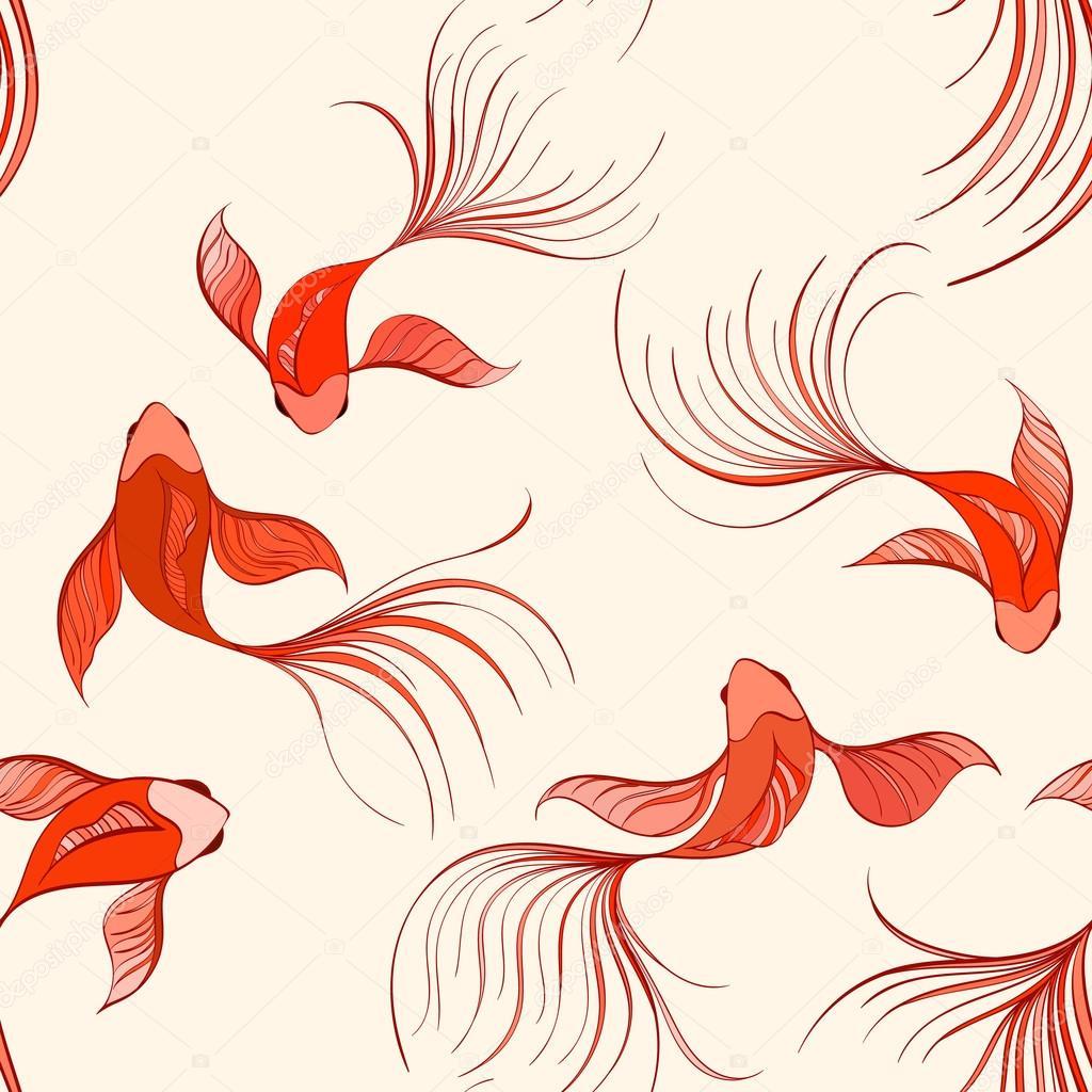 Patrón sin fisuras de peces koi — Vector de stock © mespilia #114368704