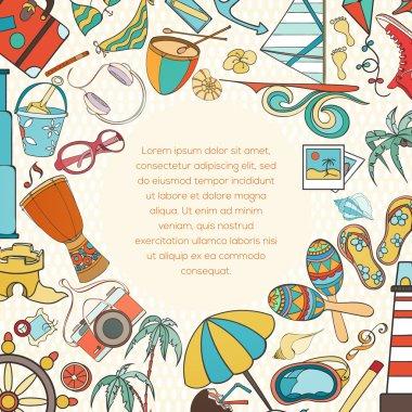 Summer doodle invitation card
