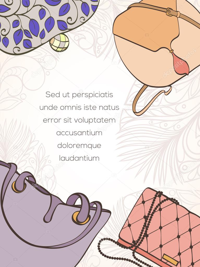 Fashion shopping card vetores de stock mespilia 116407178 invitation card for women bag shop card can be used for holiday cards shopping invitation postcard or fashion website banner bag shop design stopboris Choice Image