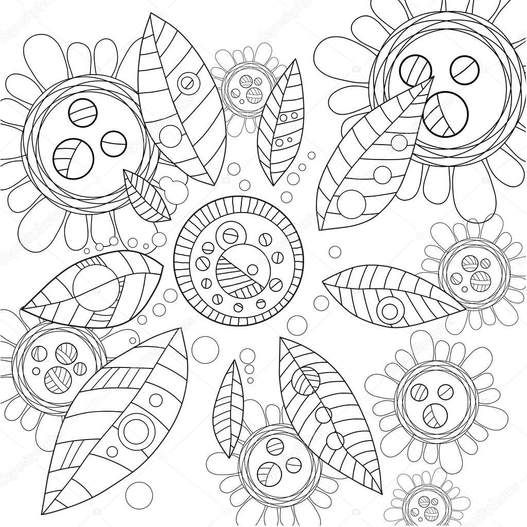 Erwachsene Malvorlagen Blumen Stockvektor Skrzbzvzgmailcom