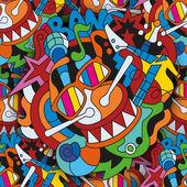 Fotografia Scarabocchia il modello senza cuciture con gli strumenti musicali disegnati a mano