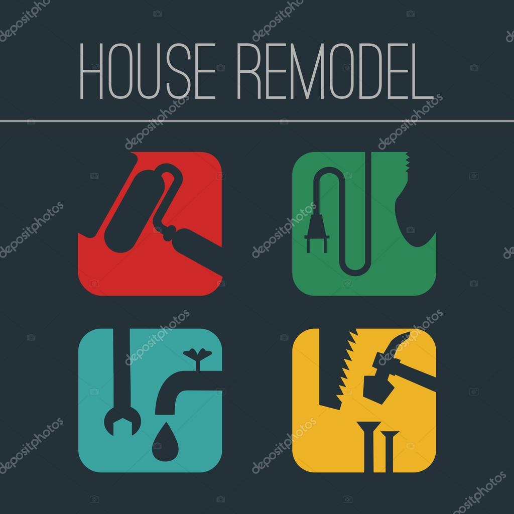 Icons on theme home repair or remodeling