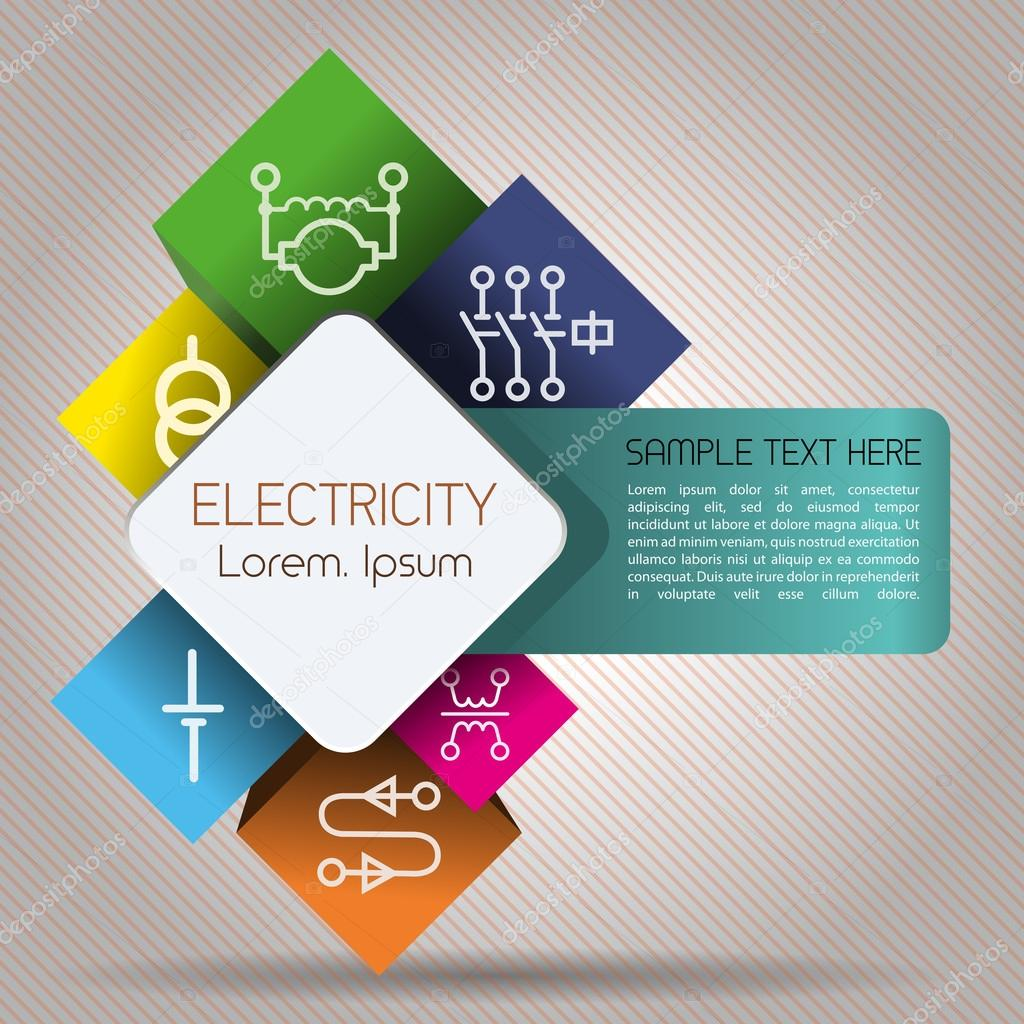 Infographics elements of electrical power network