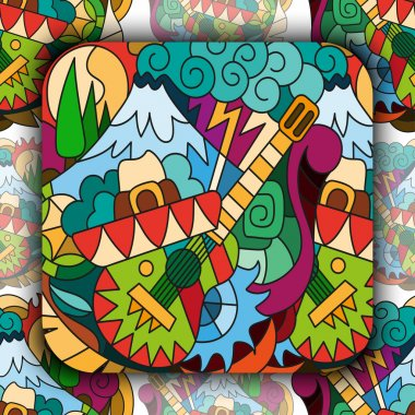 Seamless pattern with Mexican elements