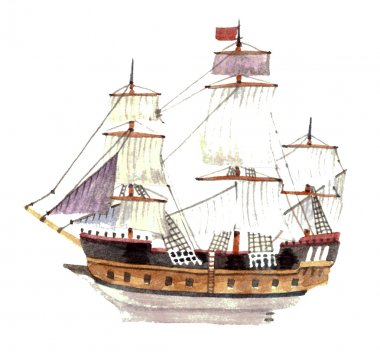 Watercolor big ship isolated on a white background