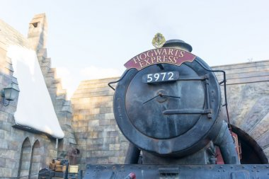 Hogwarts Express Train at Wizardly World of Harry Potter at Universal Studios Theme Park in Osaka, Japan