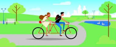 Love couple of a yound woman and man riding a tandem bicycle in the park. Vector icon