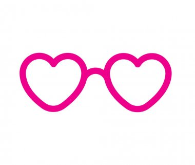 Heart shaped pink lovely glasses. vector icon