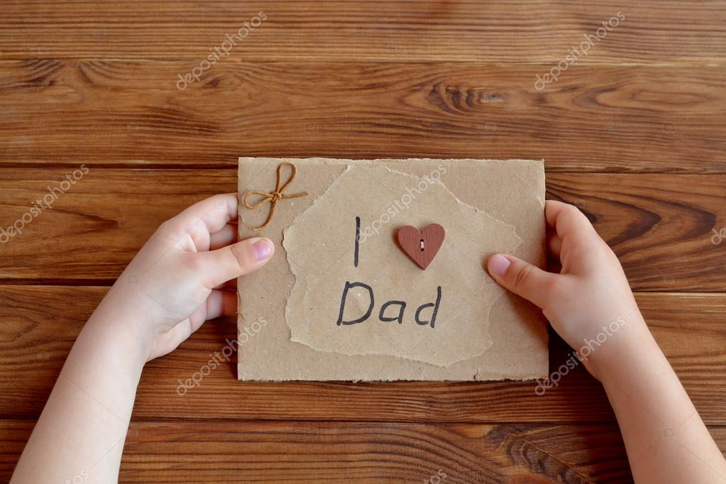 Child Holds A Birthday Card For Dad Stock Photo Onlyzoia 112679470