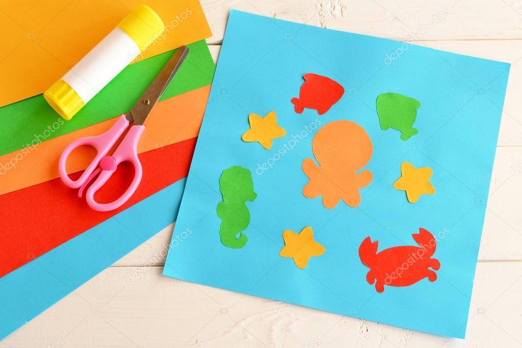 Papier Applikation Mit Meerestieren Und Fischen Kunstunterricht Im