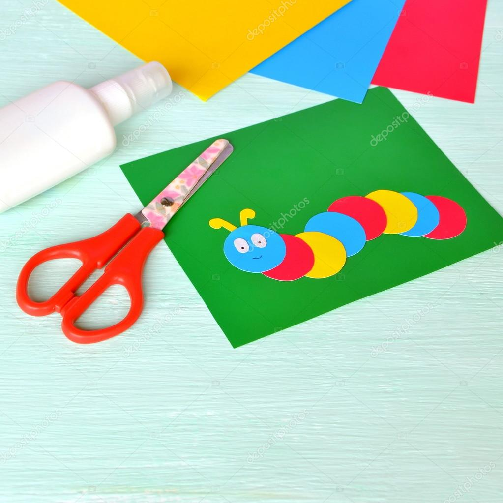 Childrens cardboard crafts colored caterpillar on a green paper simple summer crafts for kids paper crafts idea for summer camp kindergarten elementary schools photo by onlyzoia jeuxipadfo Image collections