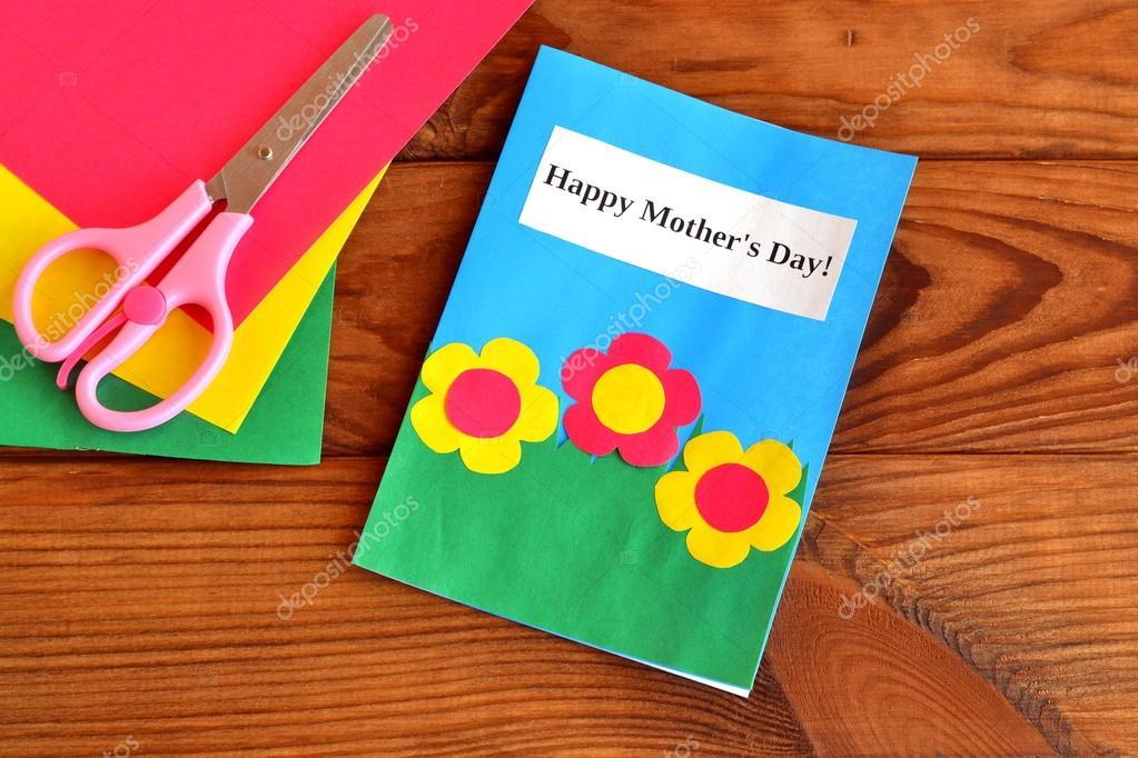 Grußkarte Muttertag Kinder Basteln Schere Papierbögen
