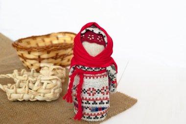 Ukrainian doll Motanka, sandals and basket on burlap. Ethnic Doll souvenir. Slavic doll Motanka. Gift Idea