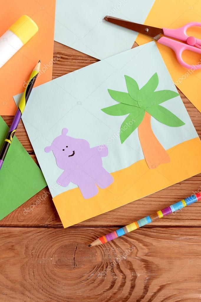Spass Sommer Card Mit Einem Nilpferd Und Einer Palme Auf Einem
