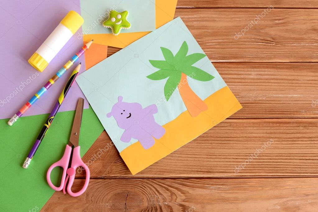 Paper Hippo And Palm Tree Applique Colored Paper Sheets Scissors