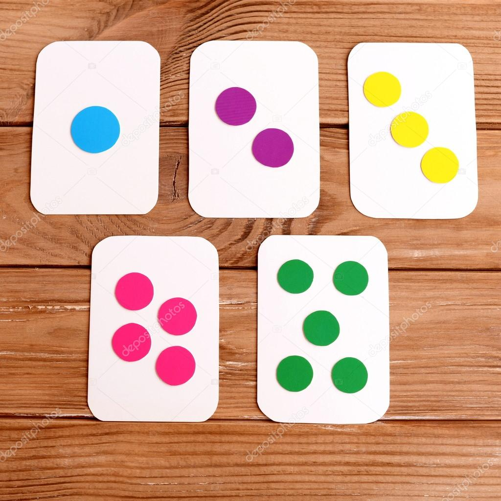 Un juego de tarjetas número y colores. Cómo hacer tarjetas ...