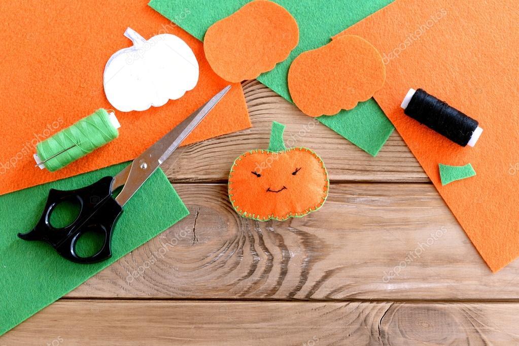 Halloween Basteln Holz.Halloween Kürbis Mini Dekor Orange Filz Kürbis Spielzeug Schere