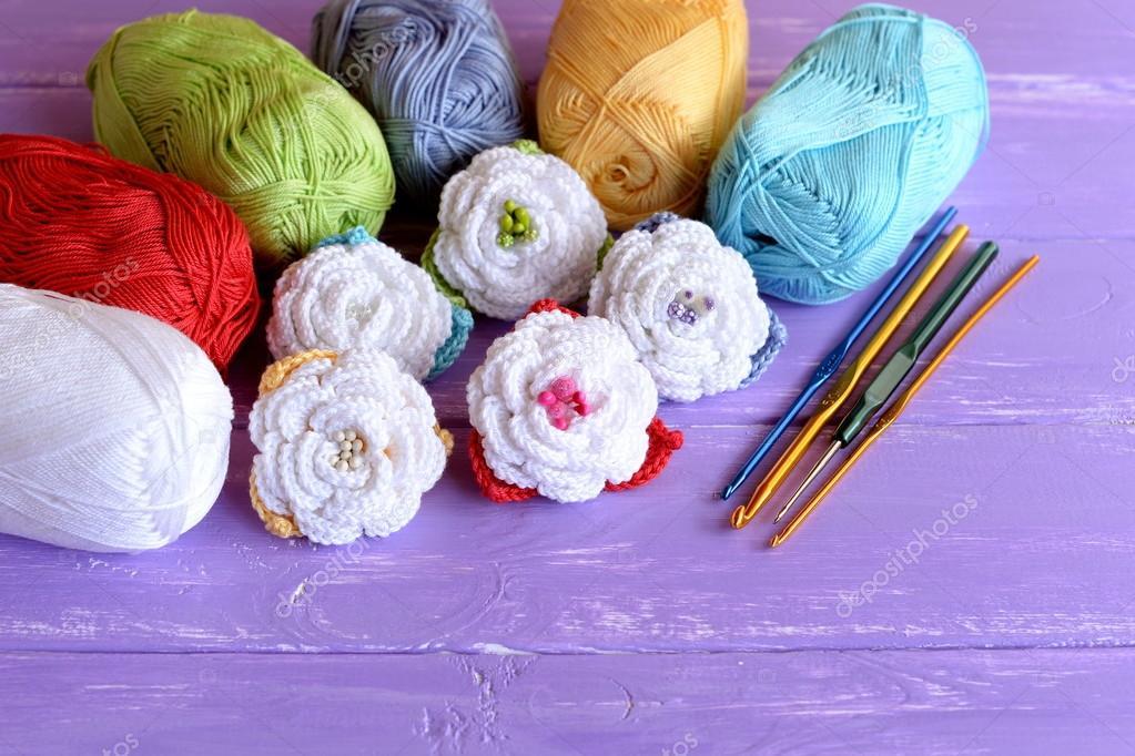 Crochet Fleurs Ensemble échevettes De Fil De Coton