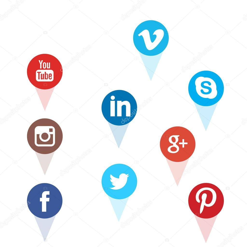 2861276ba626 Set of most popular social media icons: Facebook, Twitter, YouTube,  Pinterest, Instagram, Google Plus, Linked in — Photo by gooddesign10