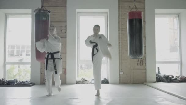 Two Taekwondo Girls Train For A Kick