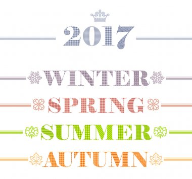 Idyllic four seasons text logo set. Winter, Spring, Summer, Autumn. Year calendar collection with snowflake, clover leaf, flower and maple leaf icons.