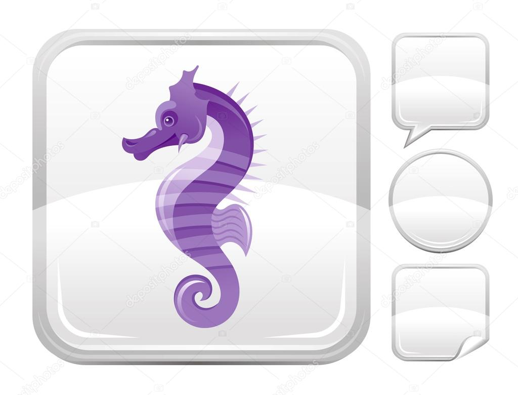 Sea summer beach and travel icon with seahorse on square background and other blank button forms - speaking bubble, circle, sticker
