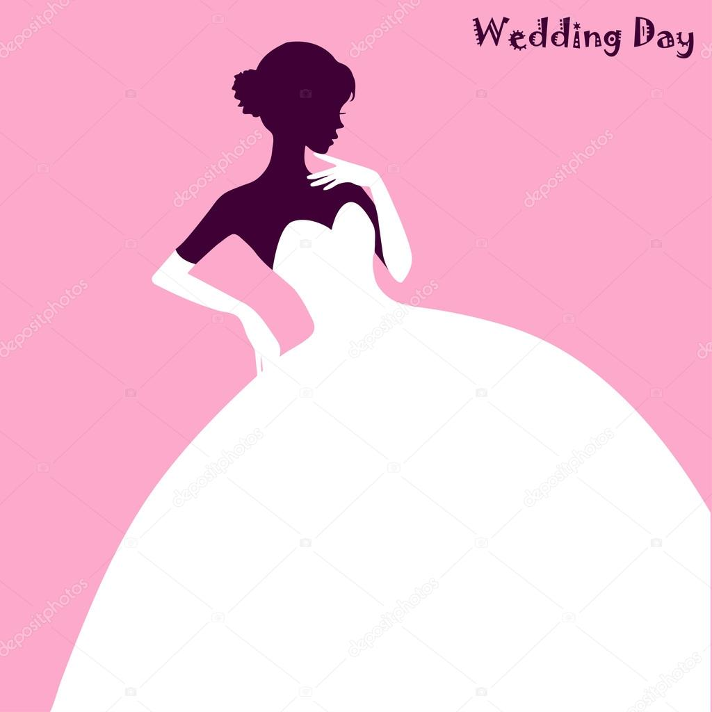 Boda moda, vestido de novia elegante en fondo rosa, ilustración ...
